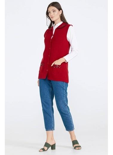 Sementa Kadın Cepli Düğmeli Triko Yelek - Kırmızı Kırmızı